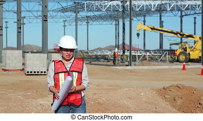 Female Civil Engineer on Jobsite - Nervous female civil...