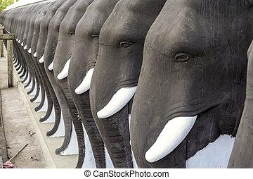 elephant statues in ruwanweliseya, Sri Lanka - elephant...
