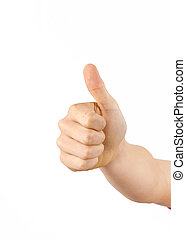 cute boy giving a thumbs up sign isolated on white...