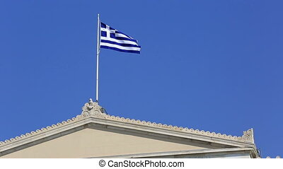 Greek Flag 1 - Greek flag waving in the wind and clear blue...