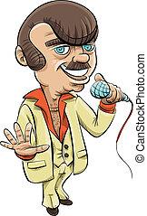 Retro Host - A retro cartoon host holding a microphone.