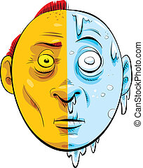 Hot and Cold Face - A cartoon face that is half hot, half...