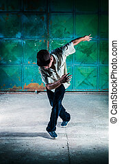 Breakdancer. Selected focus on the face