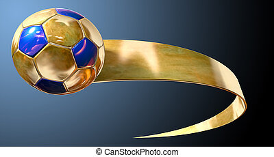 Gold Soccer Ball And Swoosh - A gold and blue soccer ball...