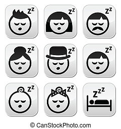 Sleeping, dreaming people faces but - Vector buttons set of...