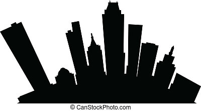 Cartoon Tulsa - Cartoon skyline silhouette of the city of...