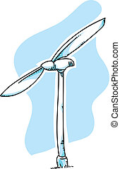 Wind Turbine - A cartoon wind turbine for generating...