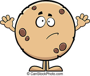 Guilty Cartoon Cookie - Cartoon illustration of a cookie...