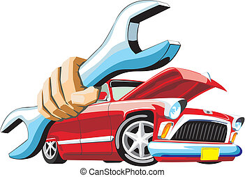car keep wrench in hand - old cartoon car keep wrench in...