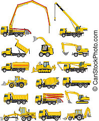 construction vehicles - set of a building machines