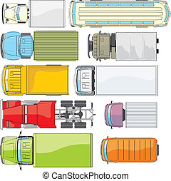 top trucks colour -  truck and bus overhand view