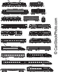 train side silhouettes - cargo and passenger train side...