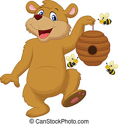 Cartoon bear holding bee - Vector illustration of Cartoon...