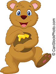 Cute cartoon bear holding honey pot - Vector illustration of...