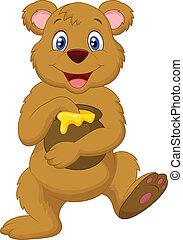 Cute cartoon bear holding honey pot - Vector illustration of...
