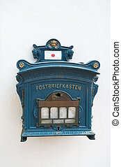 Vintage postbox Germany - Blue old vintage postbox Germany