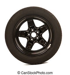 Car wheel isolated over white background
