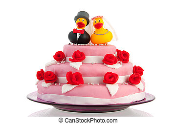 wedding cake with couple funny ducks - Pink wedding cake and...