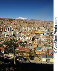 Modern centre of La Paz and Illimani Mountain - La Paz -...