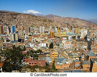 Modern centre of La Paz and Illimani Mountain - La Paz -...