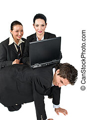 Funny situation business people with laptop - Business man...