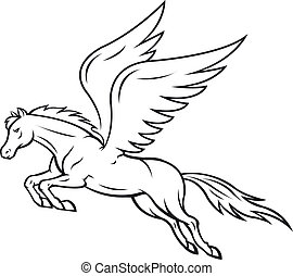 Pegasus horse - White pegasus horse with wings. Vector...