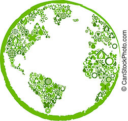 Green earth with ecological symbols