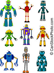Mechanical robots set in cartoon variations Vector...