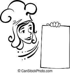 Waitress with menu