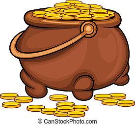 Pot with gold coins as a treasure concept. Vector...