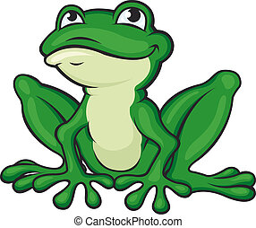 Cartoon green frog isolated on white Vector illustration