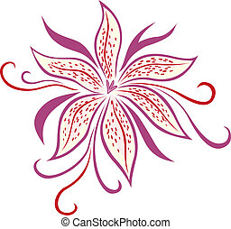 Lily flower isolated on white background. vector...