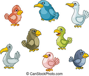 Funny cartoon birds set isolated on white Vector...