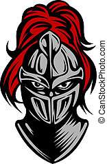 Medieval dark knight in helmet Vector illustration