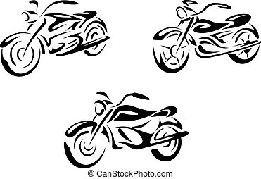 Motorcycles and bikes transport set Vector illustration