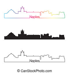 Naples skyline linear style with rainbow in editable vector...