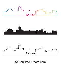 Naples skyline linear style with rainbow in editable vector...