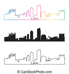 Lyon skyline linear style with rainbow in editable vector...