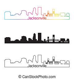 Jacksonville skyline linear style with rainbow in editable...