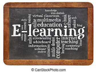 e-learning word cloud on blackboard - online education...