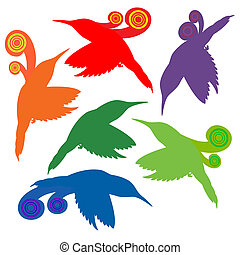Abstract Birds - A modern and abstract representation of...