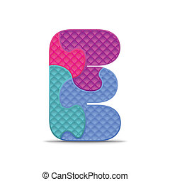 Vector letter E - Letter E written with alphabet puzzle -...