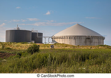Biogas plant in Germany - Bio Gas Installation Processing...