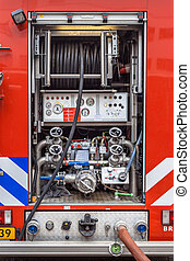 Pump and Valves on a Fire Engine - Hoses, Valves and other...