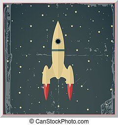 Retro Flat Design Rocket Start Space Stars Background Vector...