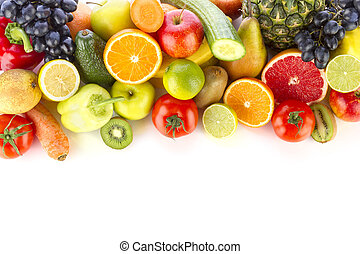 Fresh fruits and vegetables - A pile of fresh, healthy...