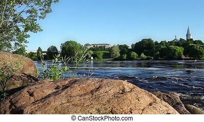 Fast Flowing River Narva - View of the River Narva Estonia...