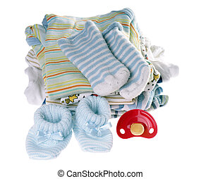 Baby Stuff - Baby clothes with pacifier isolated over a...