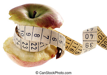 healthy eating - Apple with measure tape over a white...