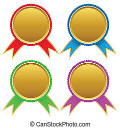 Set of different golden medals Vector illustration
